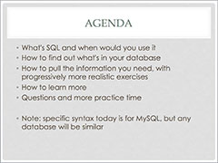 Thumbnail of agenda slide